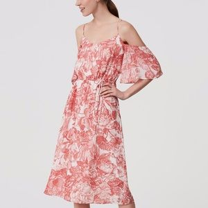 LOFT cold shoulder midi dress